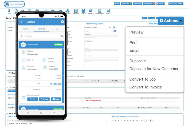 Task Management Software - Print or Email quotes directly to clients
